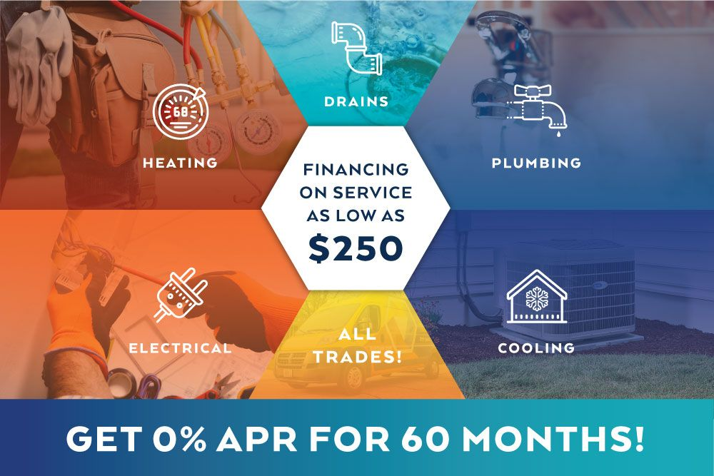 0% for 60 months financing on any service $250 minimum
